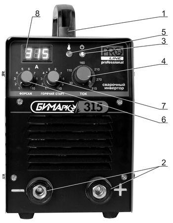 Лицевая панель сварочного инвертора БИМАрк-315 PRO Line